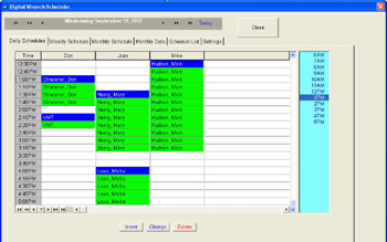 Daily view scheduling screen