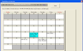 Monthly view scheduling screen