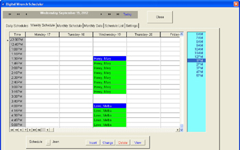 Weekly view scheduling screen